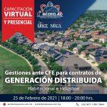 Gestiones ante  CFE para contratos de GENERACIÓN DISTRIBUIDA